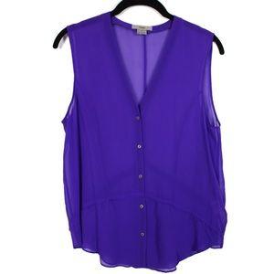 Helmut S Purple Silk Sleeveless Raw Edge Sheer Top